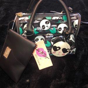 Betsey Johnson detachable strap 3 piece satchel